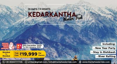 T3WR New year Special Trek to Kedarkantha Peak with Camping & River Rafting at Rishikesh.