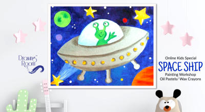 Online Kids Special Space Ship Painting Workshop by Drawing Room
