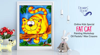 Online Kids Special Fat Cat Painting Workshop by Drawing Room