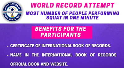International Book of Record : Most Number of people performing Squats in 1 Minute