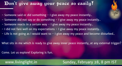 Don't give away your peace so easily!