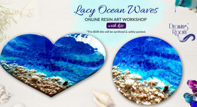 Lacy Ocean Waves Online Resin Art Workshop with Home Delivered Kits by Drawing Room
