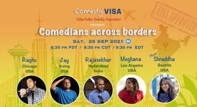 Comedians across borders @ Comedy VISA | Sat, 25 Sep - 6:30 pm PDT / 8:30 pm CDT / 9:30 pm EDT