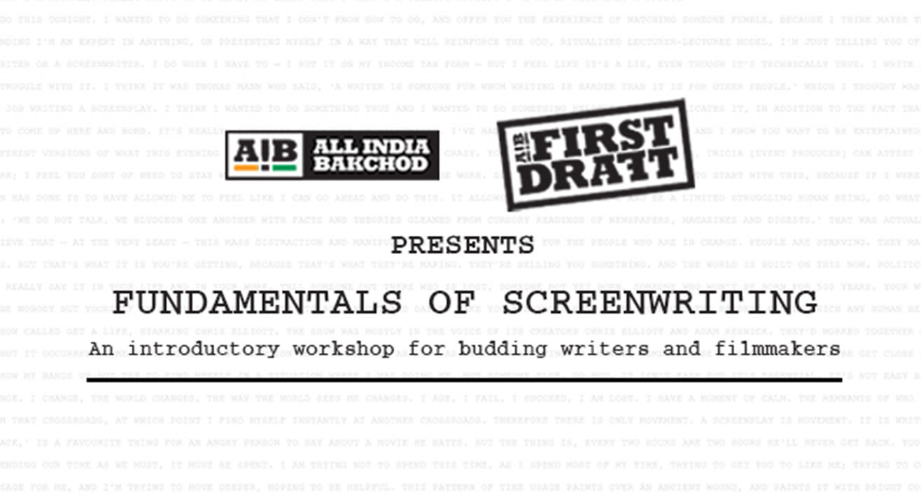 AIB First Draft: Fundamentals of Screenwriting, Hyderabad