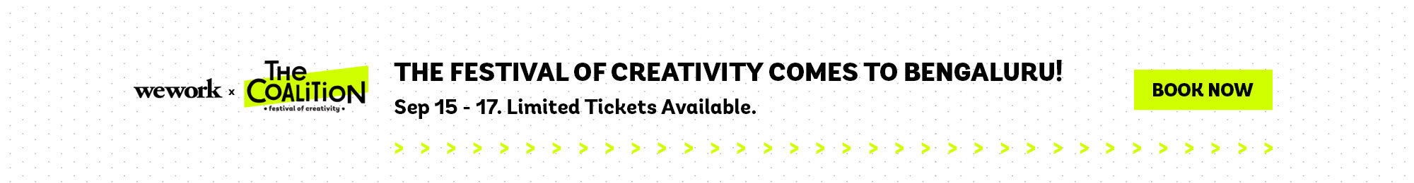 The Festival of Creativity comes to Bengaluru. Sep 15 - 17.