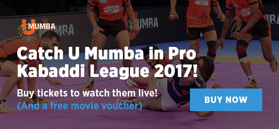 Buy tickets to U Mumba's matches in Pro Kabaddi League 2017!