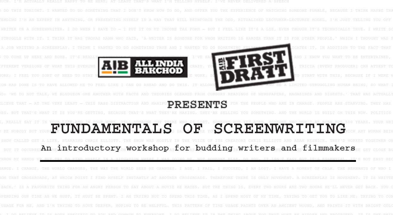 AIB First Draft: Fundamentals of Screenwriting, Delhi