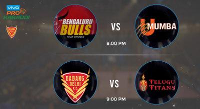 Pro Kabaddi Tickets - Bengaluru Bulls vs U Mumba & Dabang Delhi vs Telugu Titans