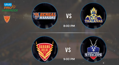 Pro Kabaddi Tickets - Bengal Warriors vs Tamil Thalaivas & Dabang Delhi vs Haryana Steelers