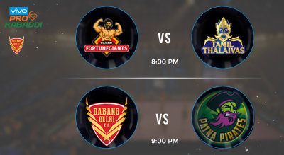 Pro Kabaddi Tickets - Gujarat Fortunegaints vs Tamil Thalaivas & Dabang Delhi vs Patna Pirates