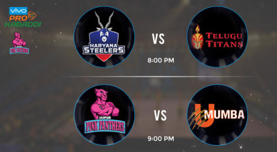 Pro Kabaddi Tickets - Haryana Steelers vs Telugu Titans & Jaipur Pink Panthers vs U Mumba