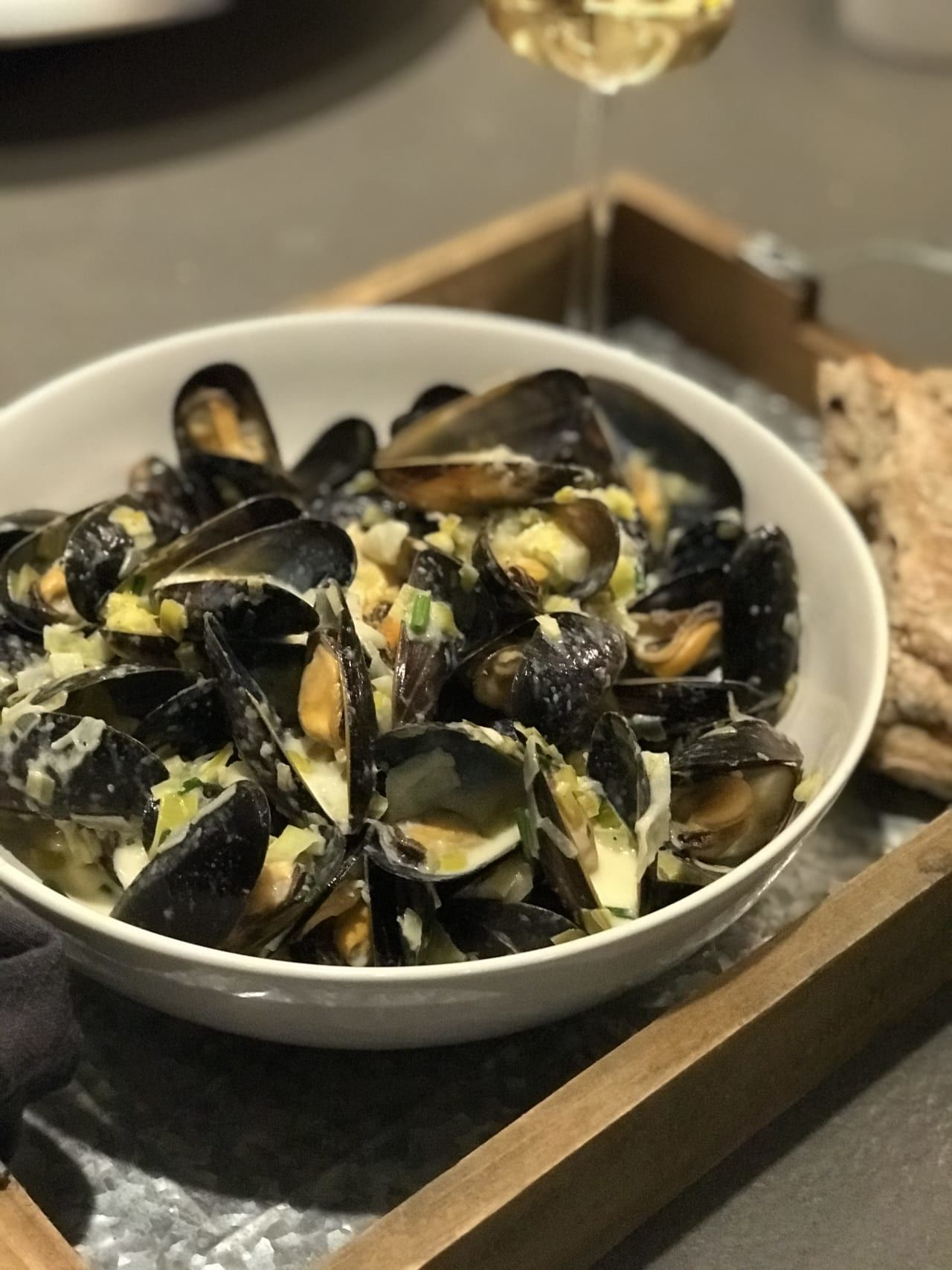Creamy Cider Apple Mussels