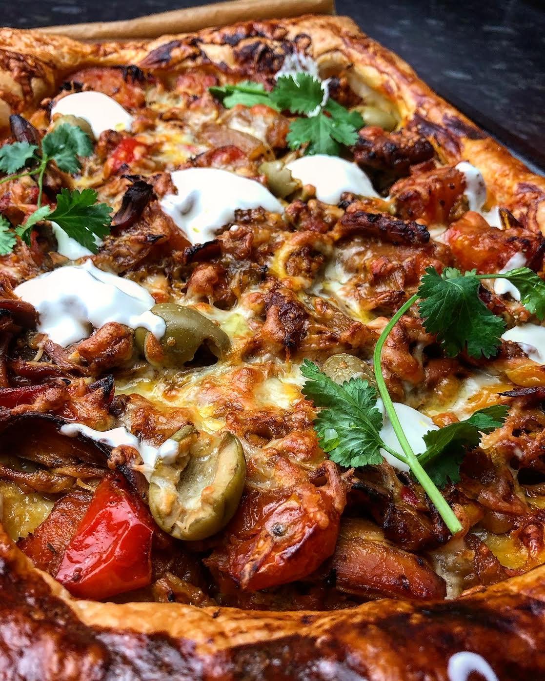 Slow Cooker Spicy Pulled Chicken & Chorizo Fajita(ish) Tart