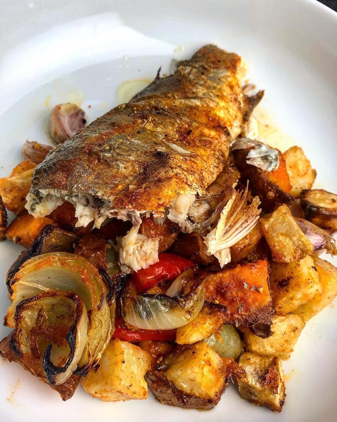 Jerk Spiced Whole Sea Bass & Roast Vegetable Tray Bake