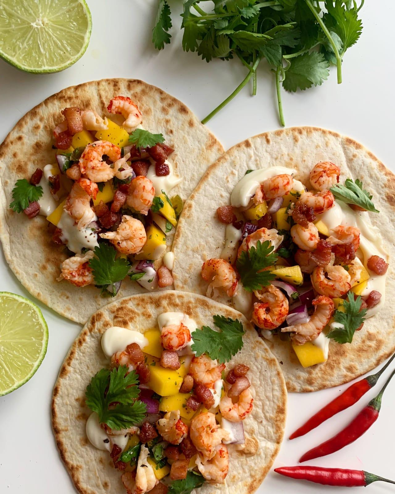 Crayfish & pancetta tacos with a mango salsa