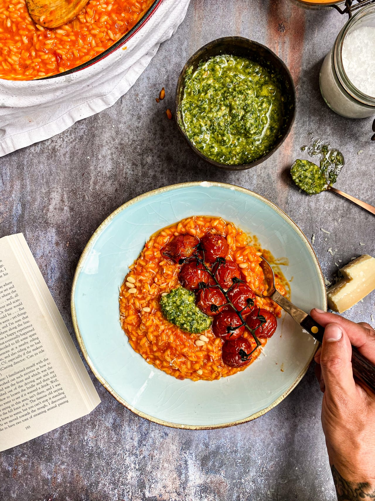 Roasted Pepper Risotto with Pesto