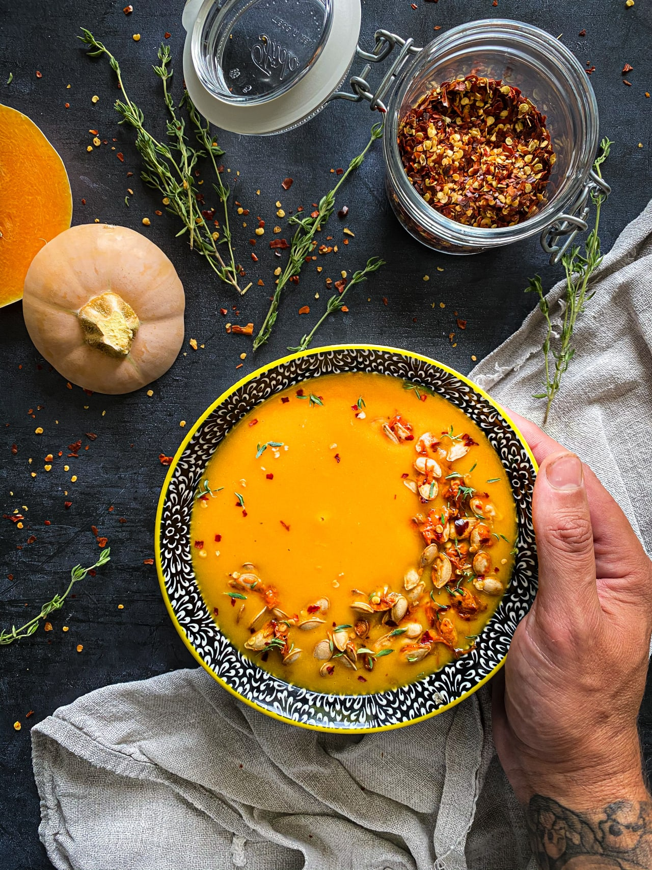 Roasted Spicy Butternut Squash Soup