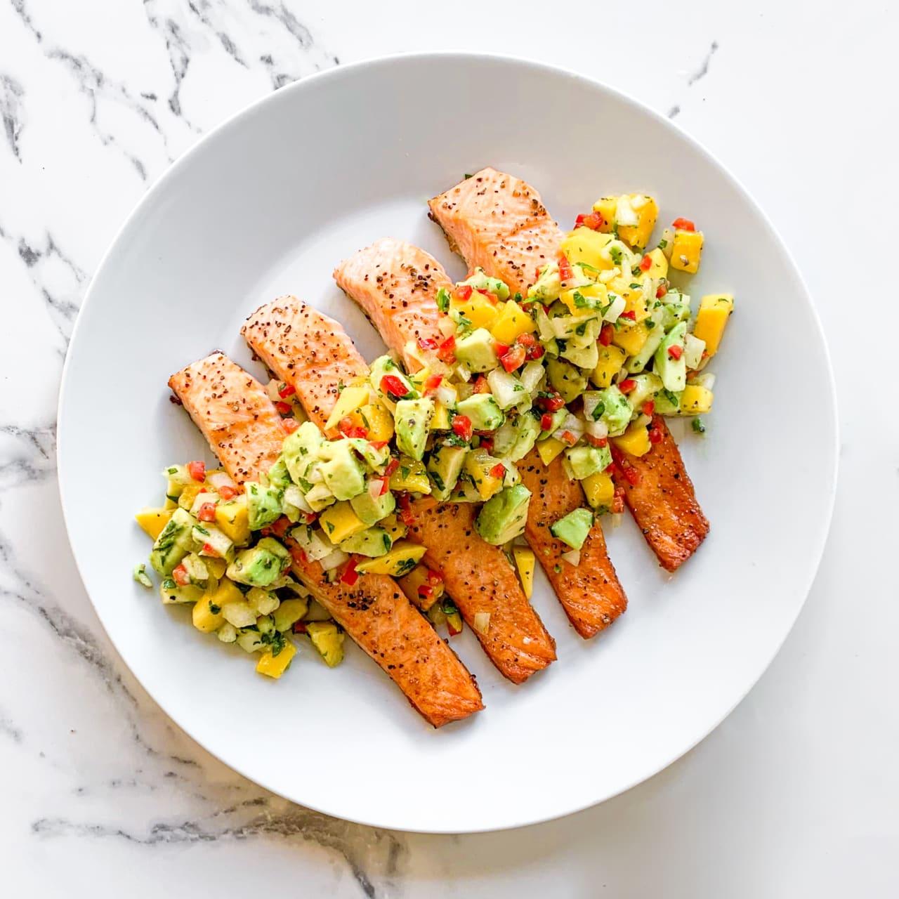 Salmon with Mango & Avocado Salsa