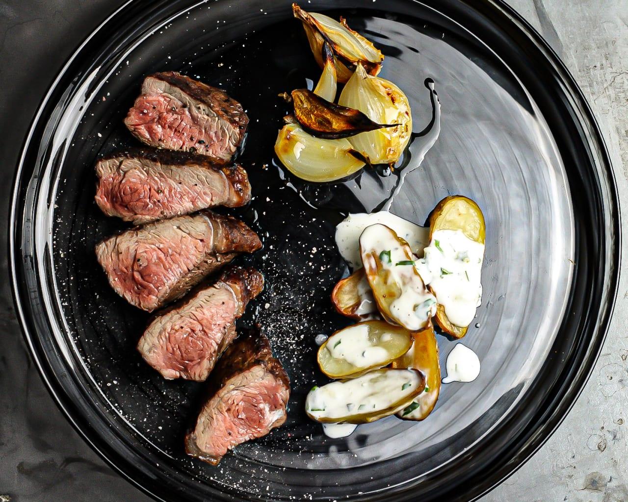 BBQ Pincanha steak with Jersey Royal & Gorgonzola Salad
