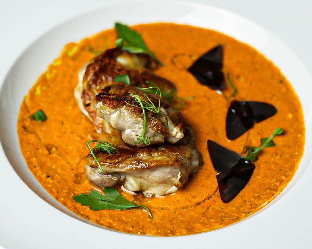 Chicken thighs with a Romesco style sauce