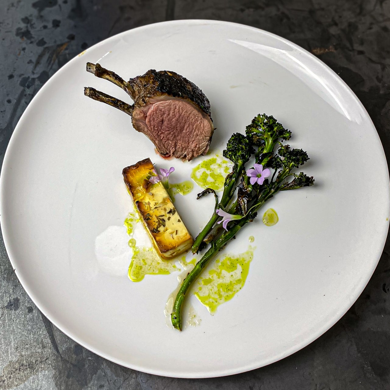 BBQ Lamb Rack with Honey & Lavender Baked Feta, Purple Spouting Broccoli