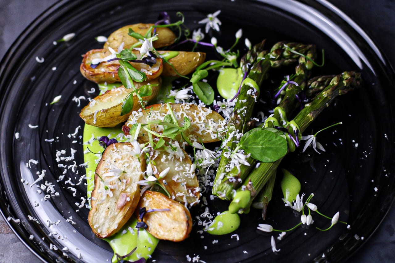 Roasted Jersey Royal, Asparagus & Wild Garlic Salad with Frozen Grated Roquefort