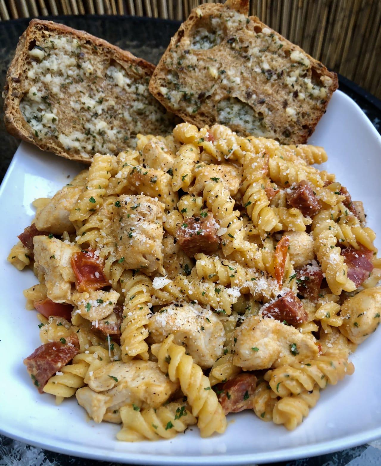 Cheesy chipotle chicken and chorizo pasta