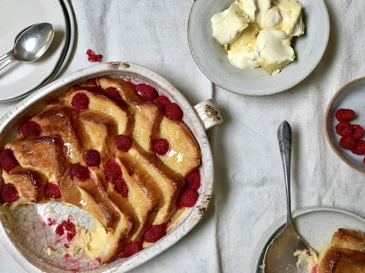 Raspberry Bread and Butter Pudding