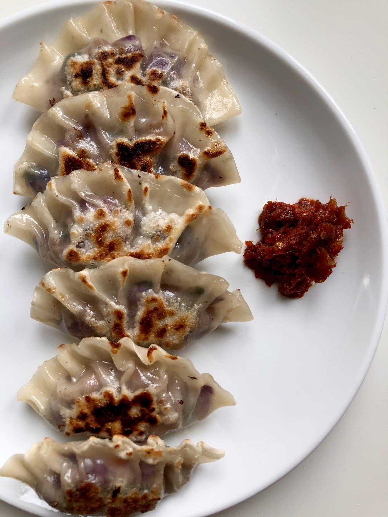 Red Cabbage and Mushroom Cumin Dumplings