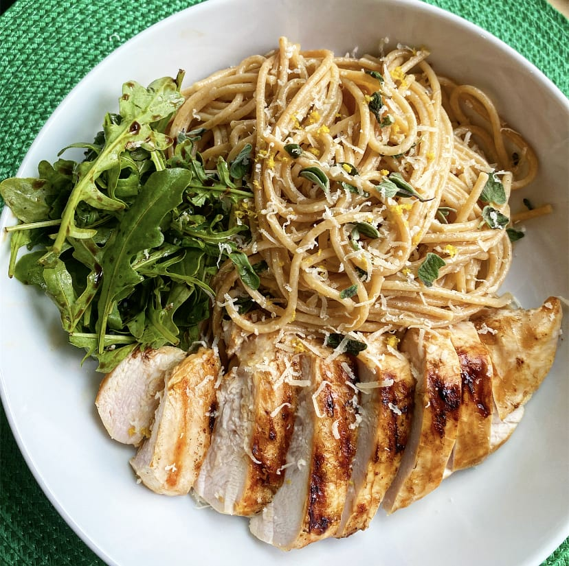 Chicken with lemon and oregano spaghetti