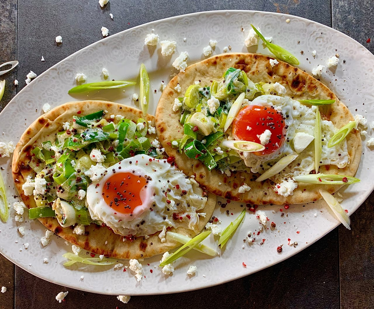 Greek Flatbreads with Caramelised Leeks and Fried Eggs
