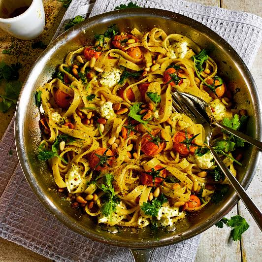 Tagliatelle with Cherry Tomatoes, Mozzarella and Toasted Pine Nuts!