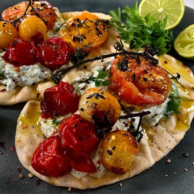 Flatbreads with Herby Feta and Seasonal Tomatoes