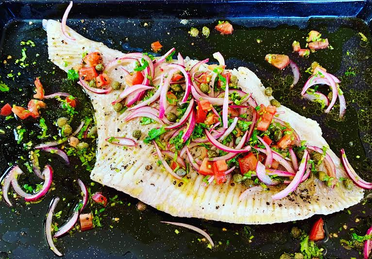 Skate Wing with a Red Onion and Coriander Salsa