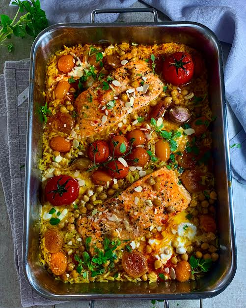 Moroccan Style Salmon Tray Bake with Apricots and Almonds