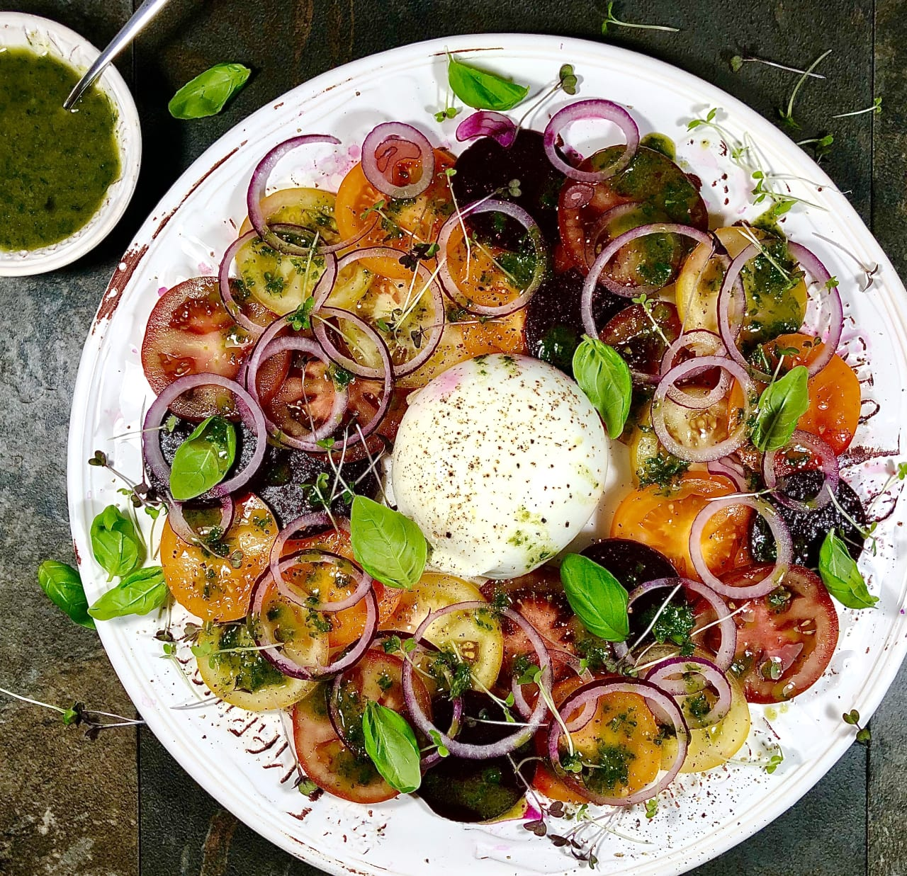 Beetroot and Tomato Salad with Burrata and Basil Oil
