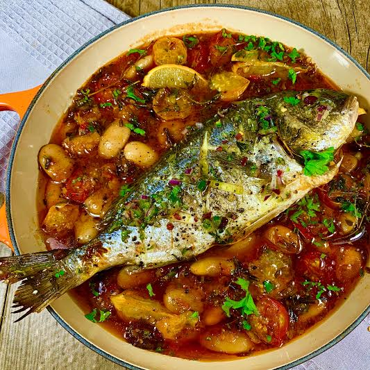 Roasted Sea Bream with a Carmargue Rice and Bean Broth