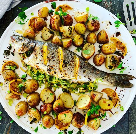 Stuffed Sea Bass with Roasted Jersey Royals