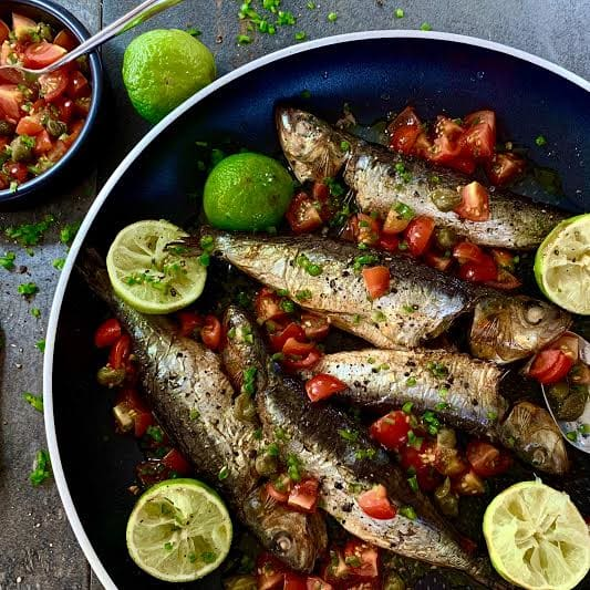 Grilled Sardines with a Lime and Green Chilli Salsa