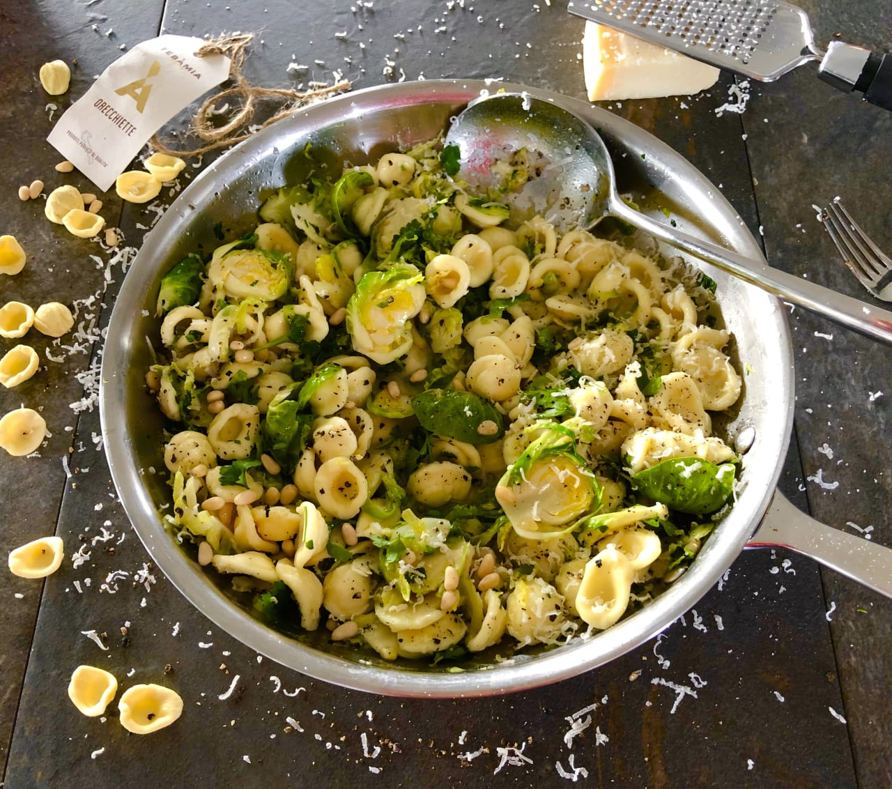 Orecchiette with Brown Butter Sprouts and Parmesan