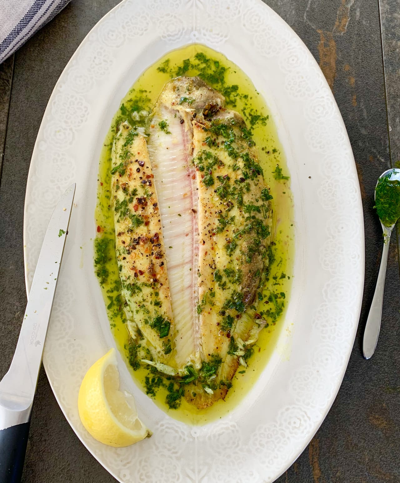 Grilled Dover Sole with a Garden Herb Vinaigrette