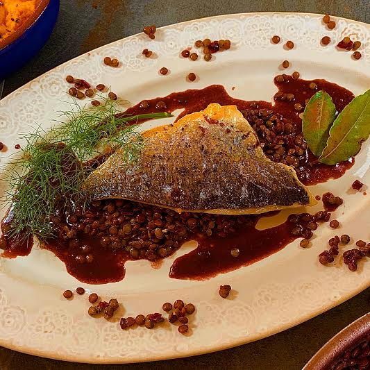 Grilled Sea Bream with Puy Lentils and Red Wine