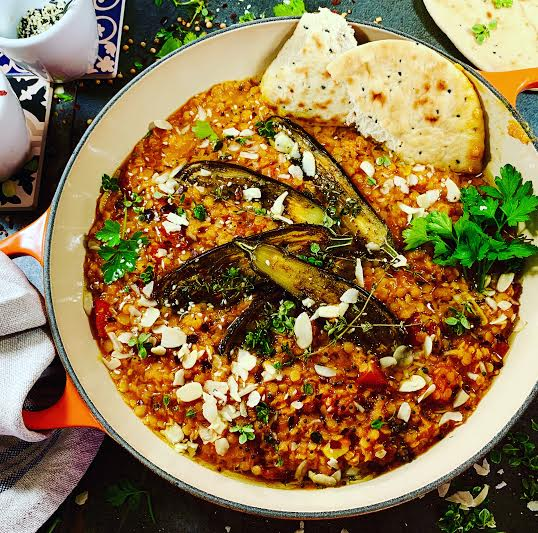 Spicy Red Lentils with Roasted Aubergines