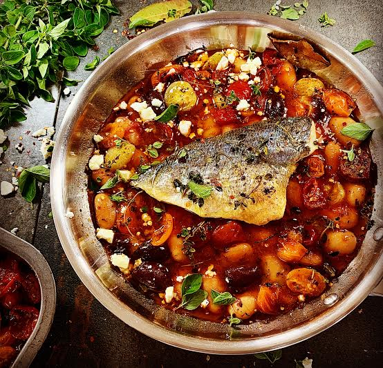 Sea Bream with Slow Roasted Tomatoes and Beans