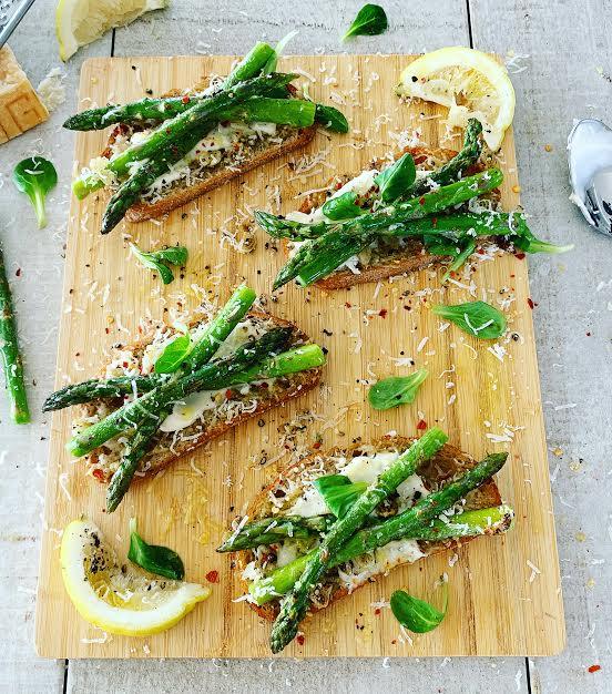 Asparagus and Parmesan Bruschetta with Lemon Mayo