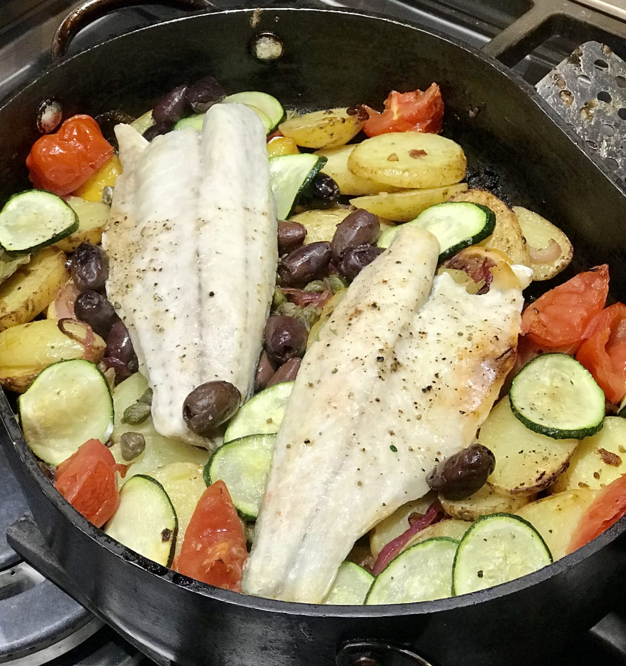 Baked Sea Bass with Potatoes, Anchovies and Lemon