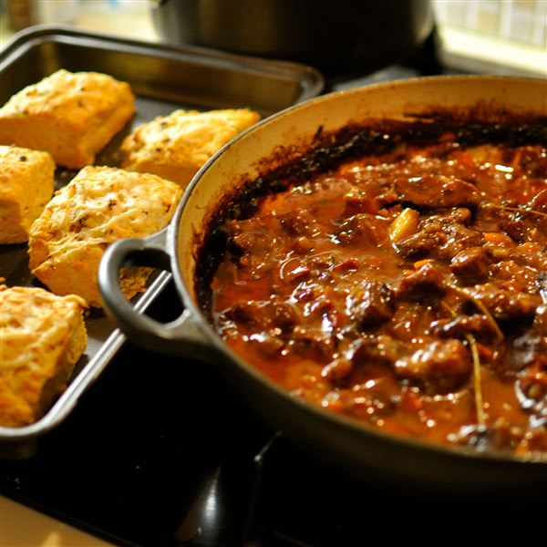 Rioja Stew with Manchego and Paprika Scones