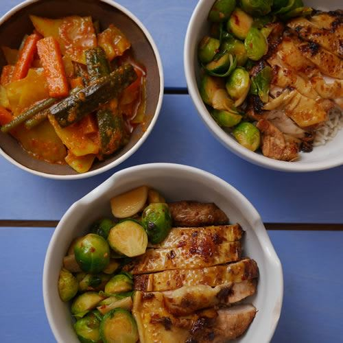 Guinea Fowl Rice Bowl with Soy, Ginger Lemongrass and Honey