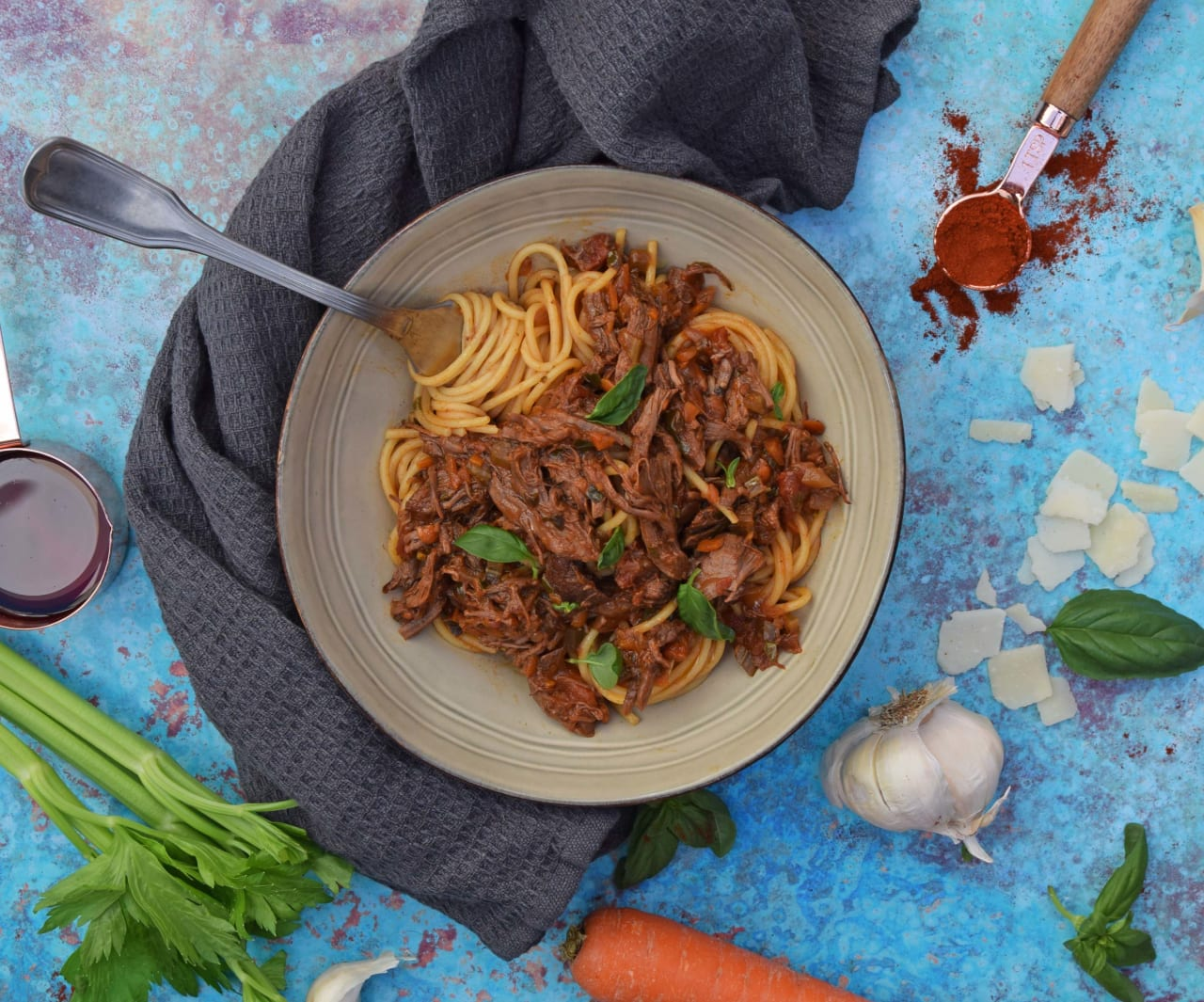 SLOW COOKED SHREDDED BEEF BOLOGNESE
