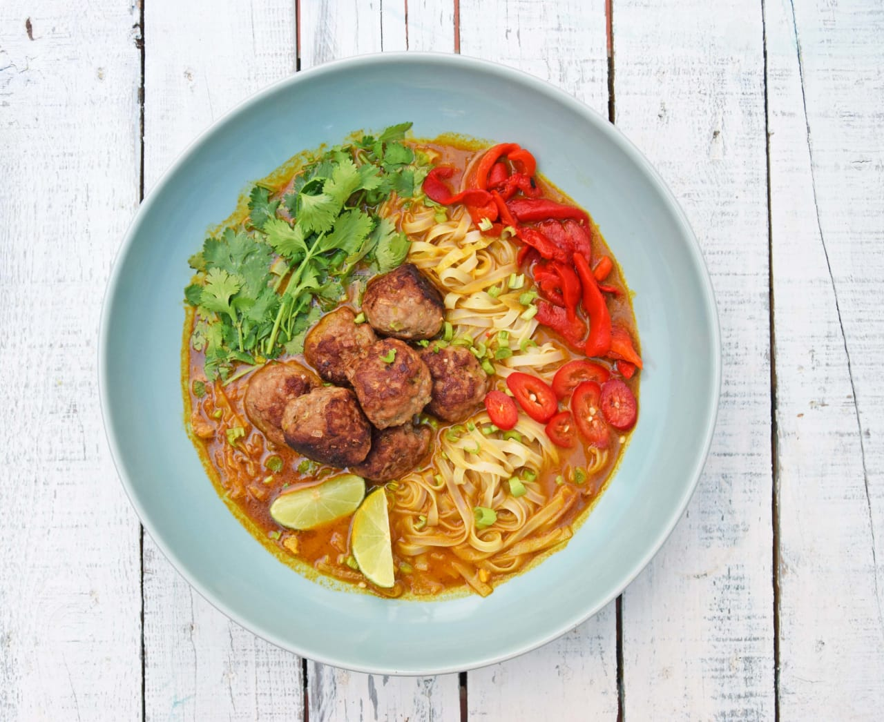 Asian style pork ball noodle soup